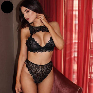 Women Sexy Bra Set Hot Floral Lace Transparent Push up halter lingerie Bralette Wire free breathable hollow out set