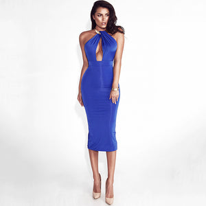 Hollow Out Party Body con Bandage Dress Women  Off Shoulder Choker Long Pencil Dress Sexy Backless Split Winter Dress