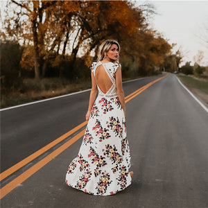 Club Dresses | Club Outfits | Party Dresses Dress, Flower Print Lace Boho Maxi Dress Sexy Deep V Neck Backless Summer Dress Women Hollow Out Irregular Long Dress Vestidos - Clubbing Love