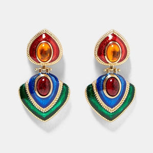 Resin Drop Earring Women Wedding Jewelry Boho Elegant Shiny Dangle Statement Earrings