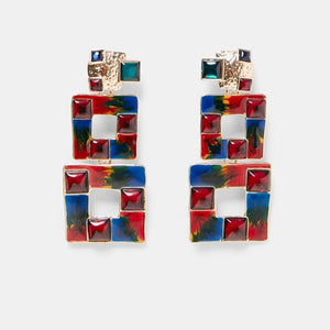 Multicolored Square Drop Earrings For Women Metal Dangle Shiny