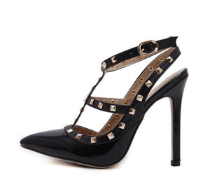 Pointed Toe Studded Strappy Slingback High Heel Leather Pumps Stilettos Sandals - Club Dresses | Party Dresses | Club Outfits. Club Dresses from ClubbingLove.com