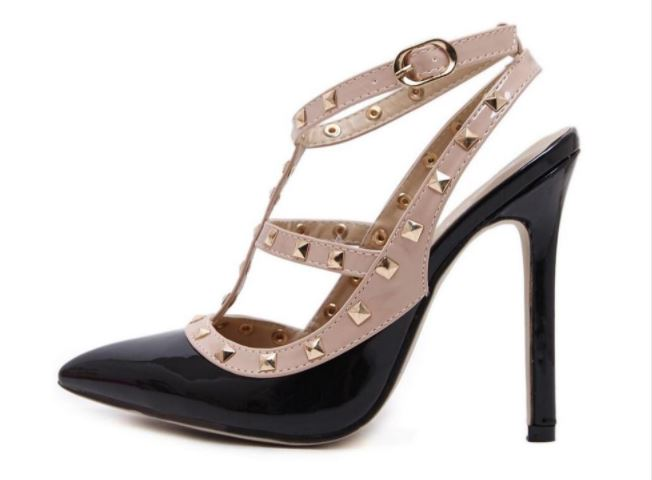 Club Dresses | Club Outfits | Party Dresses shoes, Pointed Toe Studded Strappy Slingback High Heel Leather Pumps Stilettos Sandals - Clubbing Love