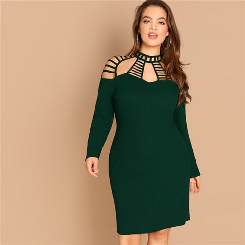 Club Dresses | Club Outfits | Party Dresses plus size, Plus Size Green Solid Ladder Cut Out Yoke Pencil Party Dress Women Long Sleeve Bodycon Sexy Midi Dress - Clubbing Love