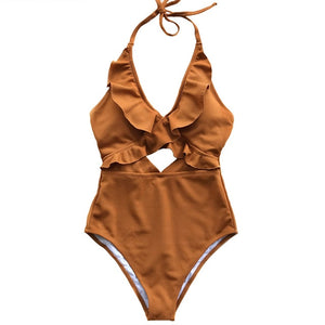 Women's Falbala One Piece Swimsuit Deep V Neck Monokini Swimsuit