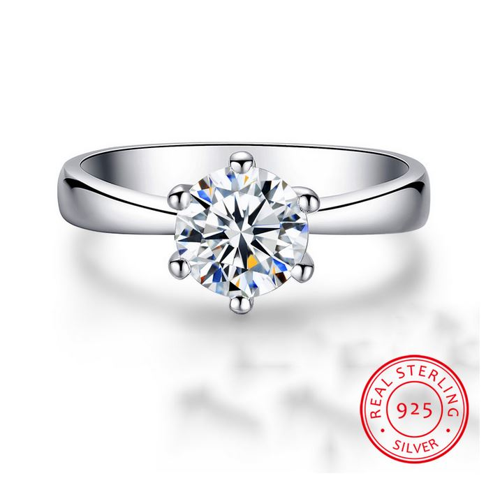 Luxury Solitaire 2.0ct Zirconia Diamond Wedding Ring Original 18K White Gold Pt Silver 925 Ring