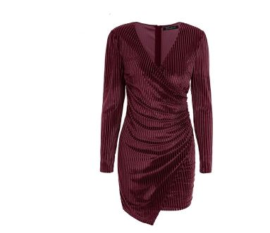 Image of Women's Long Sleeve V Neck Velvet Wrap Mini Dress Cocktail Wedding Party Club wear Dress