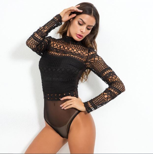 Club Dresses | Club Outfits | Party Dresses bodysuit, Women Sexy Black Lace Bodysuit Long Sleeve - Clubbing Love