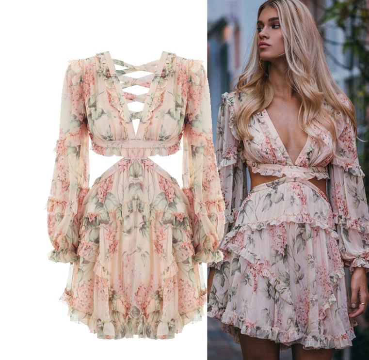 Club Dresses | Club Outfits | Party Dresses Long Sleeve Floral Print Mini Dress, Flores de Amor Dress - Clubbing Love