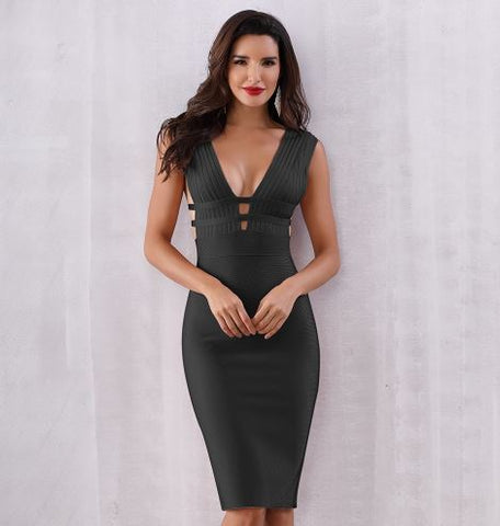 Women Bandage Dress Vestidos Verano New Tank Sexy Deep V-Neck Sleeveless Bodycon Club Celebrity Party Dresses