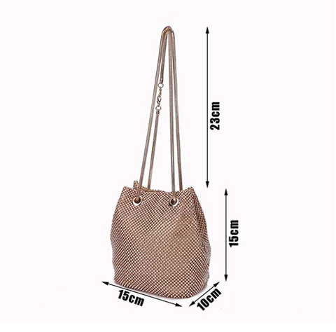 Crystal Rhinestone Small Handbag Party Prom Wedding Evening Bags Clutches Shoulder Bucket Bag