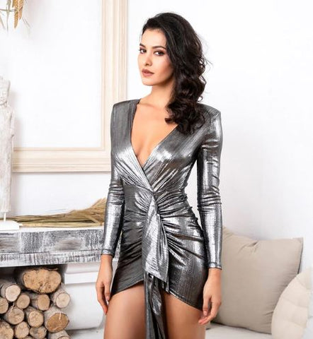 Sexy Deep V-Neck Pleated Ribbon Slit Mini Sparkling Fabric Bodycon Clubbing Partywear Reflective Dress