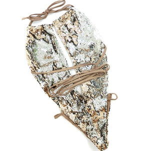 Sexy Women's One Piece Bikini Sequins Swimsuit Monokini Bandage Designer