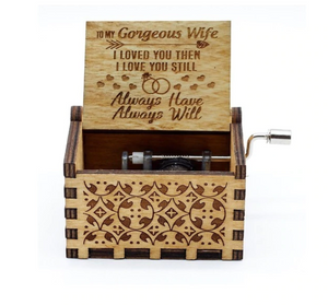 "Club Dresses | Club Outfits | Party Dresses CLUBBING LOVE ™️ ""To My Gorgeous Wife"" Wooden Music Box, CLUBBING LOVE ™️ ""To My Gorgeous Wife"" Wooden Music Box - Clubbing Love"