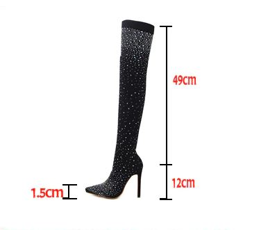 Crystal Stretch Fabric Sock Thigh High Boots Pointy Toe Over-The-Knee Heel Pointed Toe Boots
