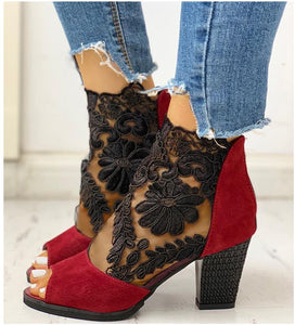 Lace Mesh Heeled Boots