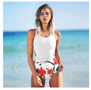 Women's Lilies Print Tank Top One-Piece Swimsuit