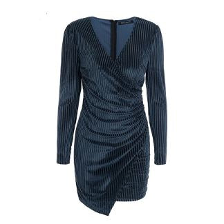 Women's Long Sleeve V Neck Velvet Wrap Mini Dress Cocktail Wedding Party Club wear Dress