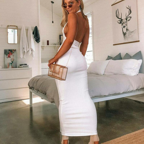 Image of White Off Shoulder Long Bodycon Party Bandage Dress Backless Sexy Knitted Pencil Dress
