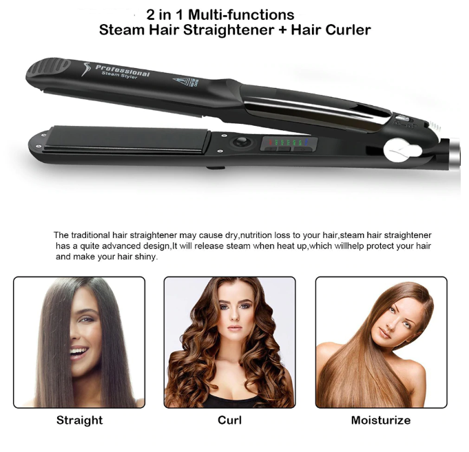 Clubbing Love™️ Salon Professional Steam Hair Straightener & Curler