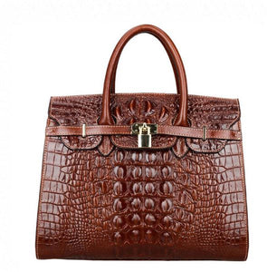 Women Crocodile Handbags Purses Satchel Office Padlock