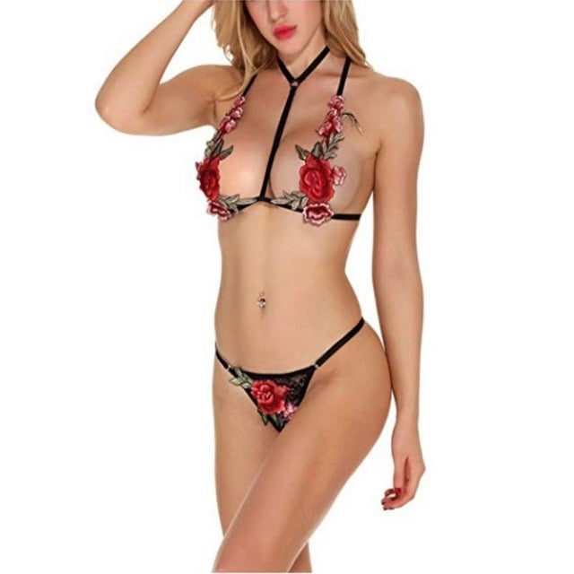 Club Dresses | Club Outfits | Party Dresses Under $9.99, Sexy Women Lingerie Bras Sets Embroidered Floral Bandage Erotic Three Point Harness Perspective Rose Goddess Suits - Clubbing Love
