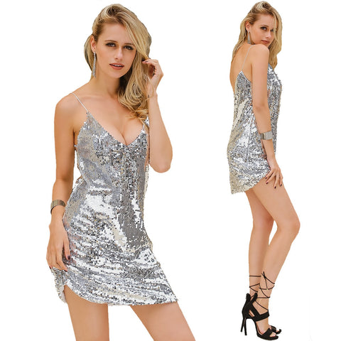 Evening Sexy Black Gold Sequin Dress Nightclub Party wear