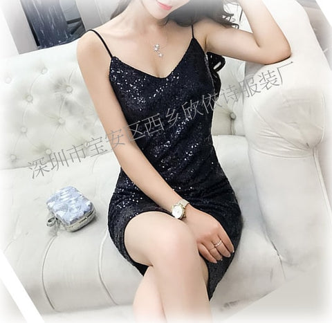 Image of Evening Sexy Black Gold Sequin Dress Nightclub Party wear