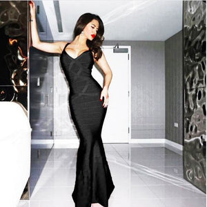 Women's V-Neck Backless Fishtail Bandage Formal Evening Dresses Long - Club Dresses | Party Dresses | Club Outfits. Club Dresses from ClubbingLove.com