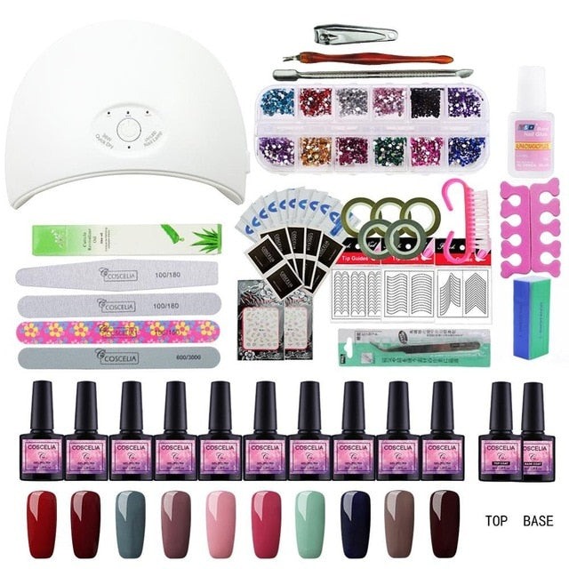 Club Dresses | Club Outfits | Party Dresses , Full Manicure Set With Lamp Nail Kit 24W/36W UV LED Lamp For Nail Art Sets 10pcs 8ml UV Gel Nail Polish Set Tools For Manicure - Clubbing Love