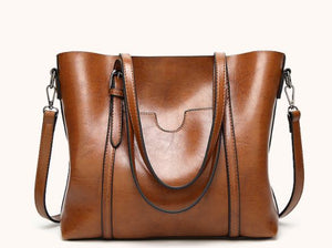 Women Genuine Leather Top Handle Satchel Daily Work Tote Shoulder Bag Large Capacity
