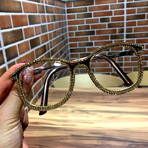 Gold Rhinestone Cat Eye  Sunglasses for Women Shades Sun Glasses Vintage Metal Clear Eye wear UV400