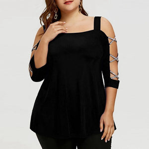 Club Dresses | Club Outfits | Party Dresses Plus Size, Plus Size Blouses for Women Fashion Ladder Cut Overlay Asymmetric Shirt Strapless Tops - Clubbing Love