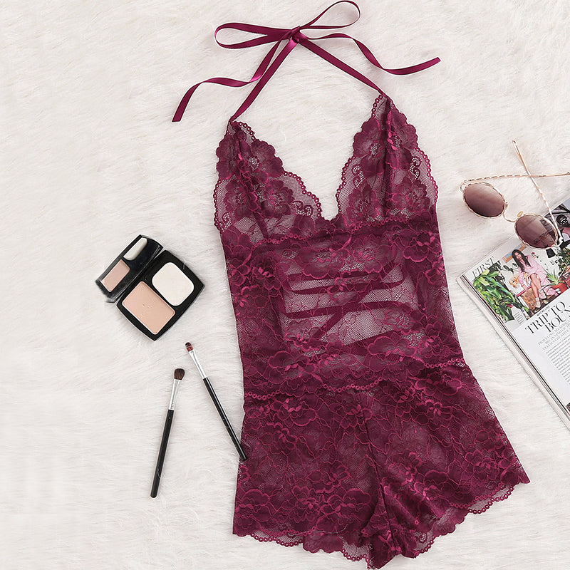 Club Dresses | Club Outfits | Party Dresses Lingerie, Women Lingerie Sexy Burgundy Deep V Neck Sleeveless Pajama Bottoms Tie Up Back Halter Neck Lace Sleep Romper Sexy Autumn Pajamas - Clubbing Love