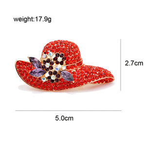 Club Dresses | Club Outfits | Party Dresses Under $9.99, Red Rhinestones Colorful Floral Floppy Sun Hat Brooch Pin - Clubbing Love