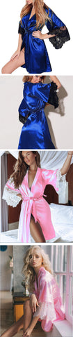 Image of Women Sexy Faux Silk Kimono Night Gown