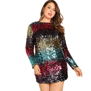 Club Dresses | Club Outfits | Party Dresses Plus Size, Women's Plus Size Glitter Bodycon Sequin Cocktail Party Club Evening Mini Dress - Clubbing Love