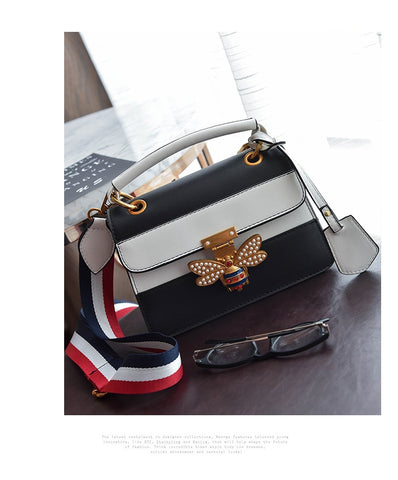 Luxury Bee Shoulder Bag Colorful Splicing Little Bee Handbag