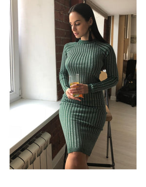 Warm and Charm Women Sweater Long Sexy Dress