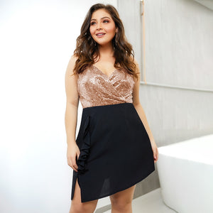 Club Dresses | Club Outfits | Party Dresses Plus Size, Women's Plus Size Sexy Sequin V Neck Midi Sleeve Bodycon Cocktail Party Mini Dress - Clubbing Love