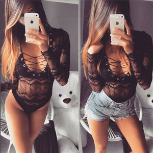 Club Dresses | Club Outfits | Party Dresses Bodysuit, Women Lace Bodysuit Clubwear Long Sleeve See through - Clubbing Love