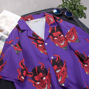 Club Dresses | Club Outfits | Party Dresses Hot Products, Devil Full Printing Turn-Down Collar Shirts Unisex High Street Men's Women's Shirts Hip-hop dance - Clubbing Love