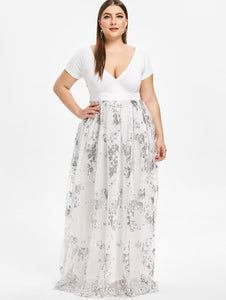 Club Dresses | Club Outfits | Party Dresses Plus SIze, Plus Size Floral Sequined Maxi Dress Women Deep V Neck Short Sleeve Ladies Dresses Elegant Evening Party Vestidos Dress - Clubbing Love