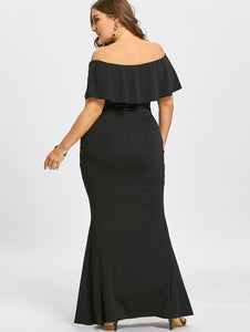 Club Dresses | Club Outfits | Party Dresses plus size, Plus Size Ruffles Off The Shoulder Mermaid Dress Women Elegant Evening Party Dress Long Black - Clubbing Love