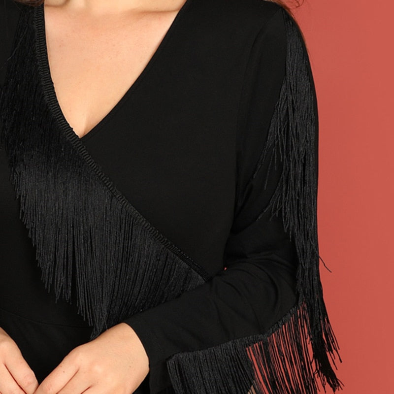 Club Dresses | Club Outfits | Party Dresses plus size, Women Plus Size Black Solid Fringe Long Sleeve Elegant Bodysuit - Clubbing Love