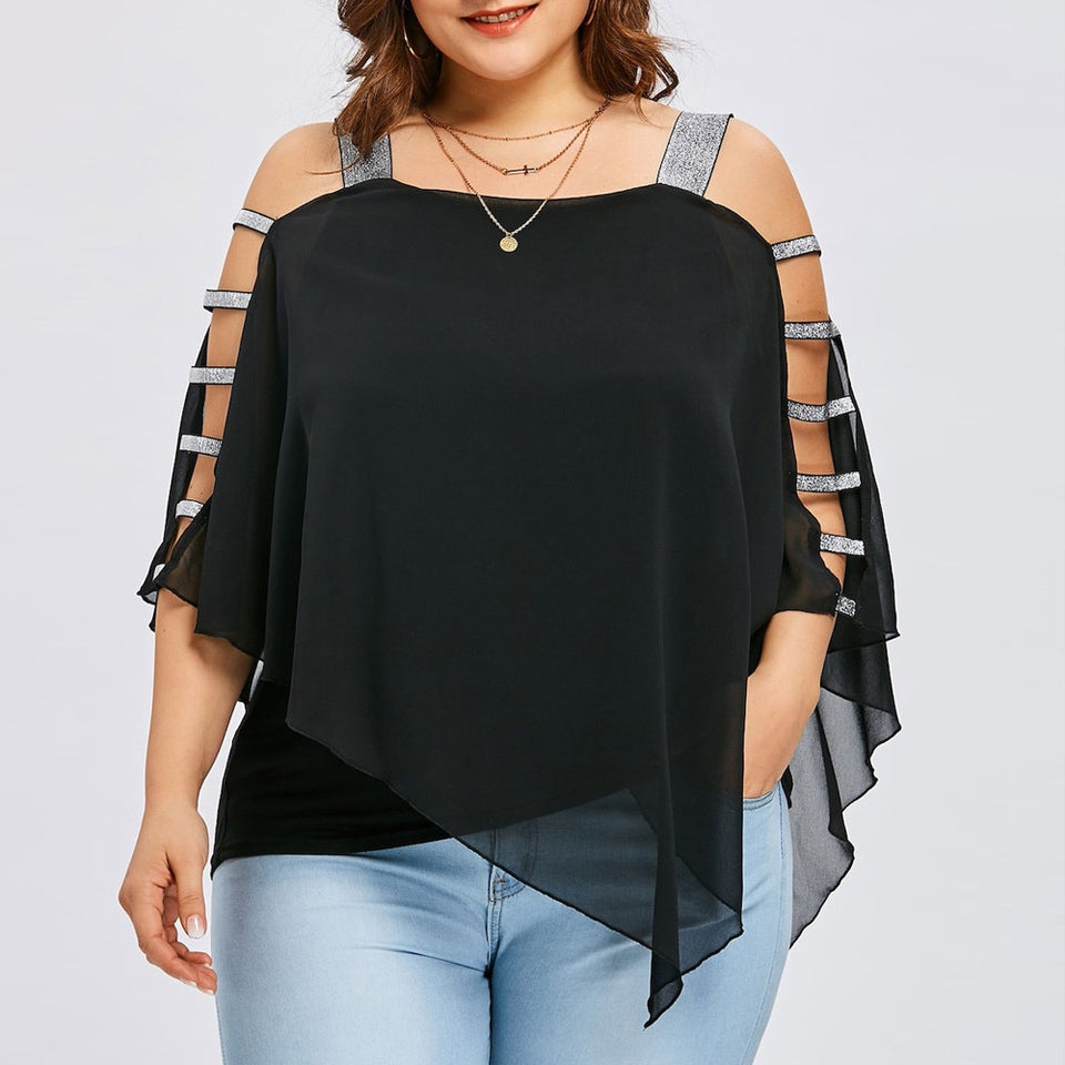 Club Dresses | Club Outfits | Party Dresses Plus Size, Women's Plus Size Blouse Ladder Cut Overlay Asymmetric Blouse Strapless Tops - Clubbing Love