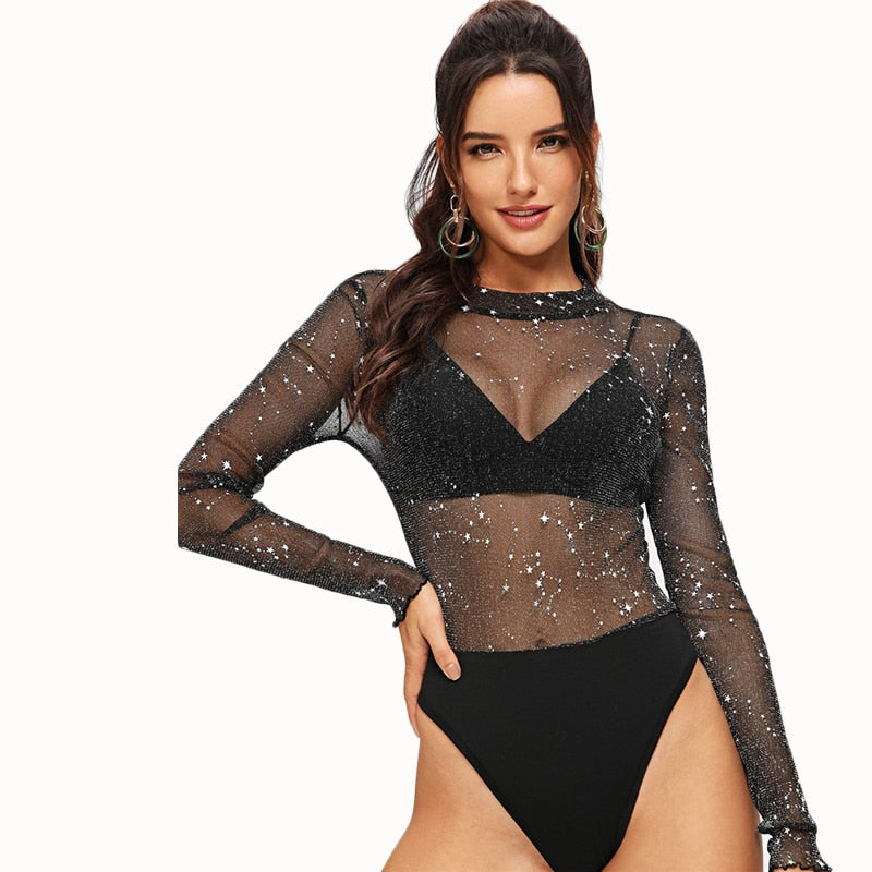 Club Dresses | Club Outfits | Party Dresses Bodysuit, Womens Clubwear Bodysuit Black Solid Mesh Sheer Long Sleeve Elegant - Clubbing Love