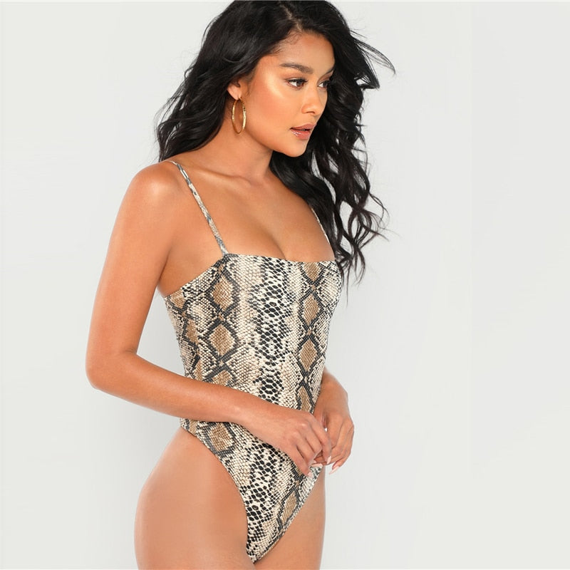 Club Dresses | Club Outfits | Party Dresses Bodysuit, Women Multi color Snake Skin Print Bodysuit Casual Spaghetti Strap Sleeveless Animal Print Women Autumn Elegant Bodysuits - Clubbing Love