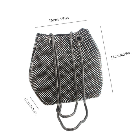 Image of Crystal Rhinestone Small Handbag Party Prom Wedding Evening Bags Clutches Shoulder Bucket Bag