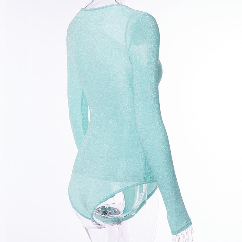Club Dresses | Club Outfits | Party Dresses bodysuit, Women Clubwear Bodysuit Mint Green Deep V Neck Bling Elastic Sexy Silver Long Sleeve - Clubbing Love